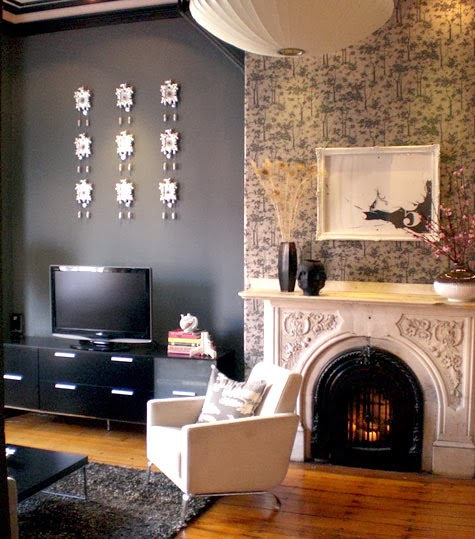 Fireplace Holiday Mantle updated with Wallpaoer