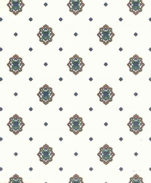 medallion-vintage-wallpaper-arts & crafts, blue, green, brown, red, off-white