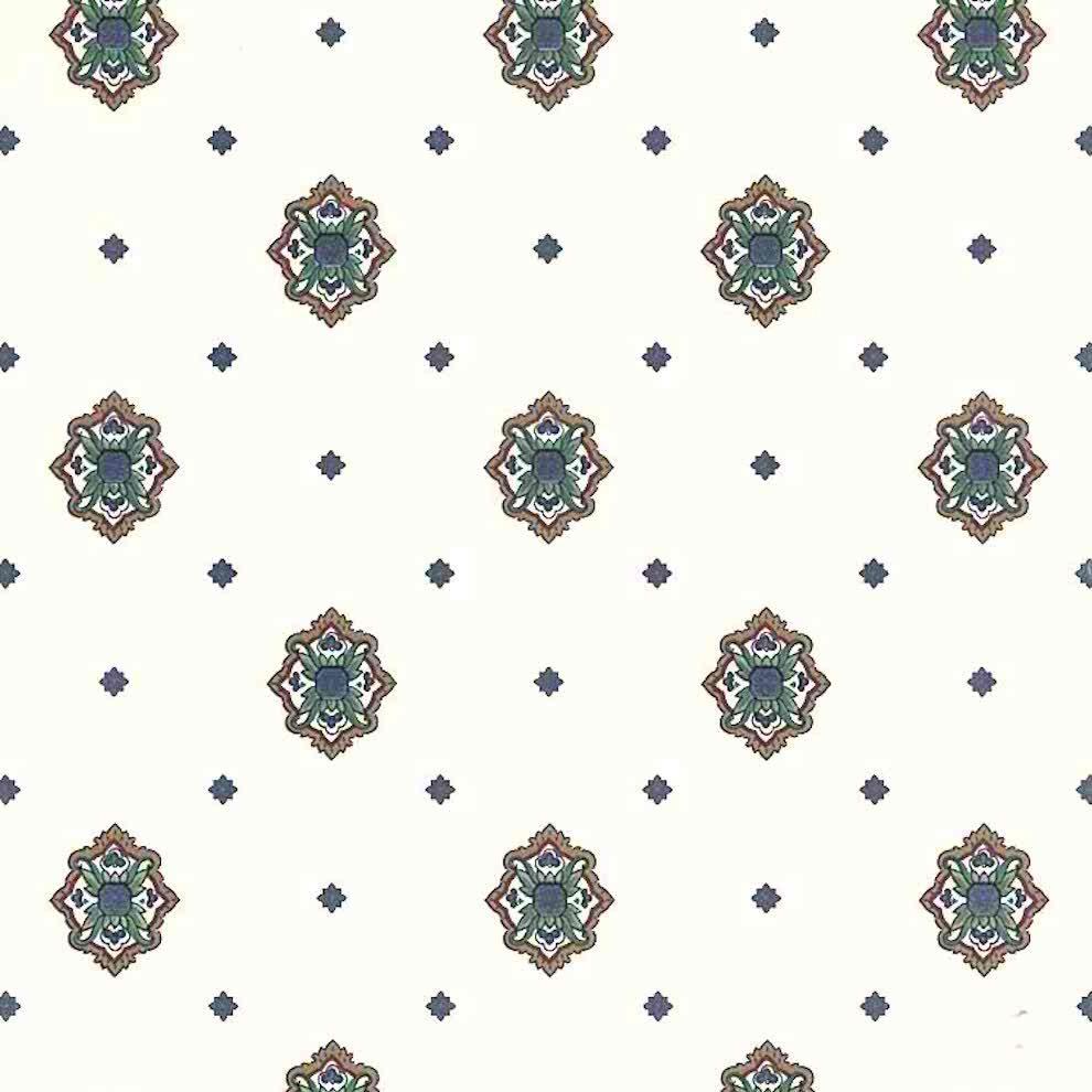 medallion-vintage-wallpaper-arts & crafts, blue, green, brown, red, off-white