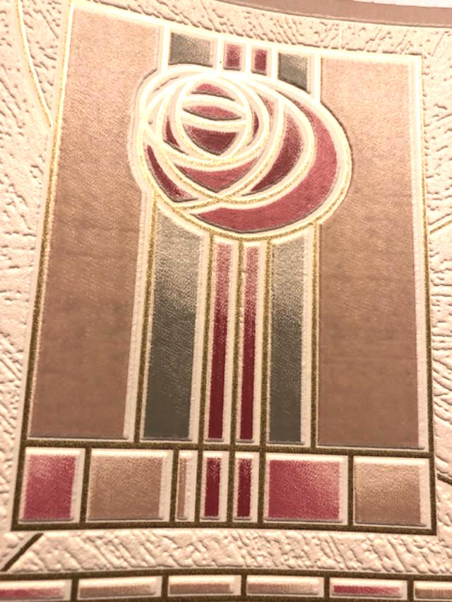 Art deco wallpaper border, red-pink-rose, green, green, textured, geometric, Arts & Crafts.