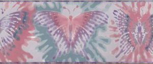 girls butterfly wallpaper border, pink, purple, lavender, green, kids