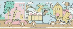 children's vintage wallpaper border, pink, blue, green, yellow, animals, giraffe, bear, car, truck, motor scooter, nursery, playroom, bedroom