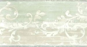beige scroll vintage wallpaper border, green, cream, textured