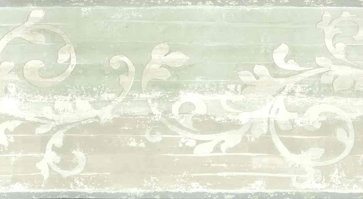 Beige Scroll Vintage Wallpaper Border Green Qc3438 B
