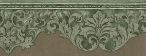 green scroll wallpaper border, beige, cutout, dining room, bedroom