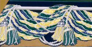 tassels wallpaper border, cutout, navy, blue, green, yellow, silver, taupe, glazed, dining room