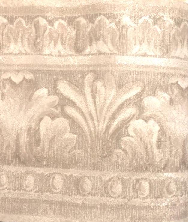 taupe egg dart wallpaper border, cream, textured, glazed