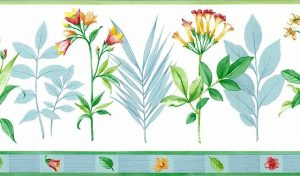 Waverly botanical vintage wallpaper border, cottage, flowers, leave, blue, green, pink yellow, off-white
