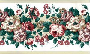 Waverly roses vintage wallpaper border, pink rose, lavender, off-white, green, leaves