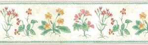 wildflowers vintage floral wallpaper border, UK, English cottage, faux finish, red, green, yellow, pink, edroom, kitchen