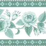 Vintage style wallpaper and borders, green, floral, Waverly