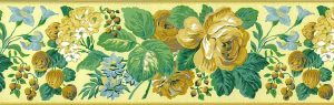 Laura Ashley vintage border, yellow, green, English cottage, floral, roses, bedroom, UK