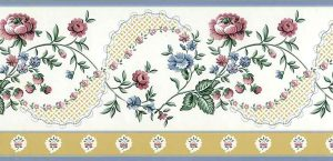 ribbon vintage wallpapr border,yellow, red, blue, green, leaves, floral, flowers, bedroom, kitchen