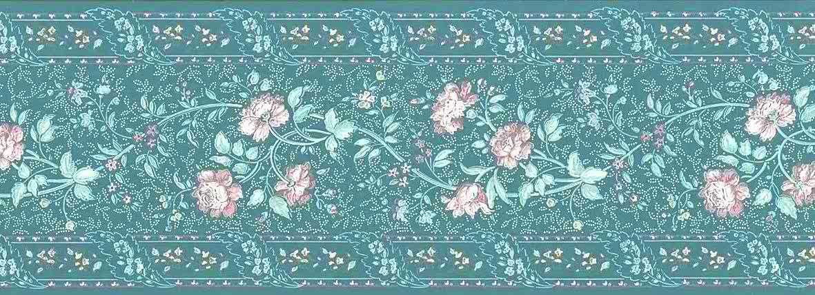 cottage paisley vintage wallpaper border, floral, green pink, white, swirl,