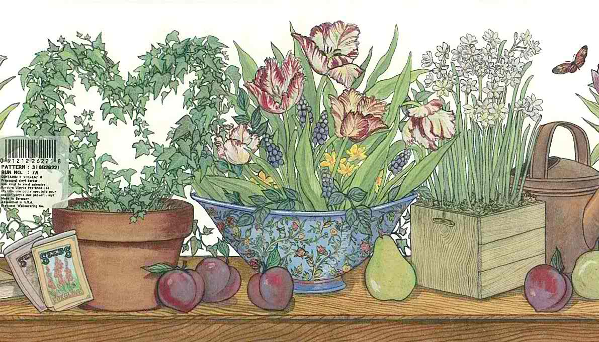 kitchen floral fruit country border, ivy, topiary, grape hyacinth, wallpaper border, plums, pears, green, brown