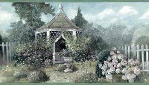 garden vintage wallpaper border, gazebo, hydrangeas, lattice, green, purple, blue, cottage, kitchen, dining room, bedroom, sun room