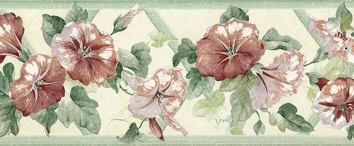 morning glories floral wallpaper border, green, lavender, rose, cottage, bedroom, kitchen, lattice