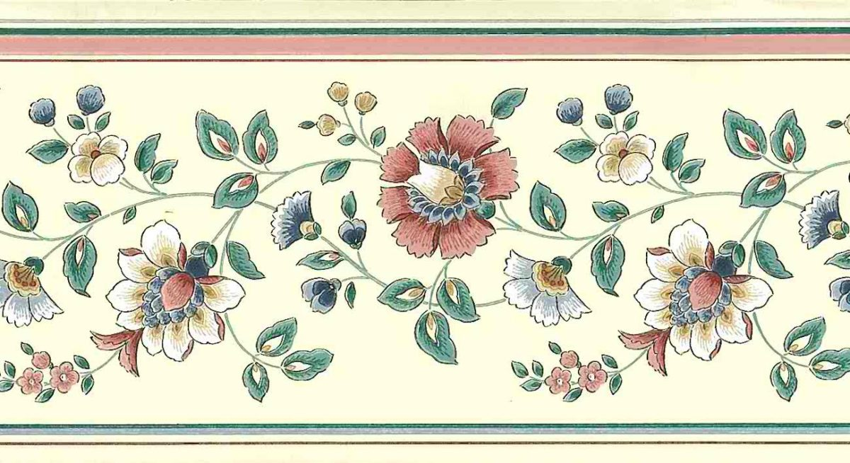 rose green vintage floral wall border, pink, white, blue, green, paisley, cottage