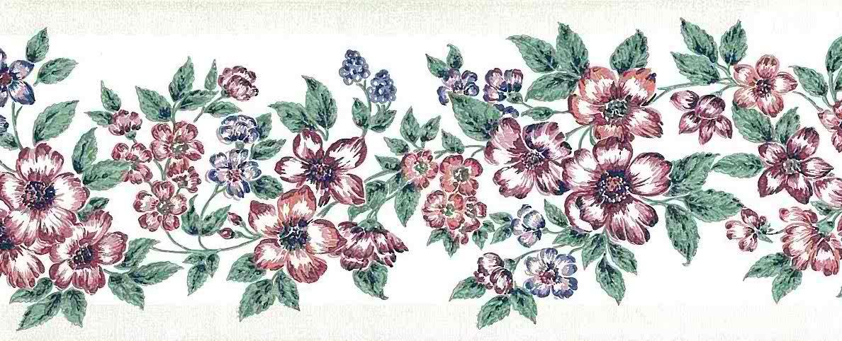 red floral vintage wallpaper border, textured, pink, blue, green, pearlized, glazed