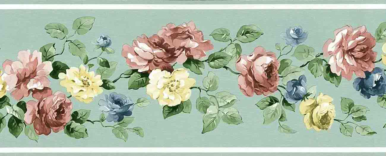 Mint Green Vintage Wallpaper Border Fl Roses Ch7154b Free Ship