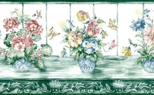 green floral vintage wallpaper border,butterfiies,pink,blue,yellow,white