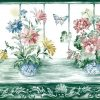 Geraniums Pansies Floral Wallpaper Border
