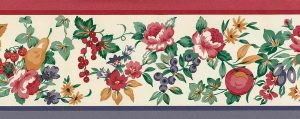 roses fruit vintage wallpaper border,plums,grapes,strawberries,pears,red,purple,yellow