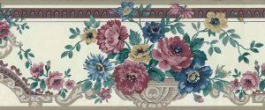 floral urn vintage wallpaper border, rose, taupe, purple, cream