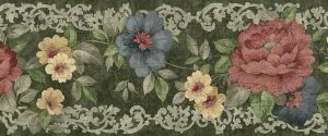 green rose vintage wallpaper border, rose, pink blue, yellow, white, gray scroll, Duth Masters still life