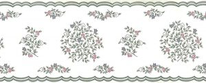 stencil floral vintage wallpaper border, gray, pink, white, cream