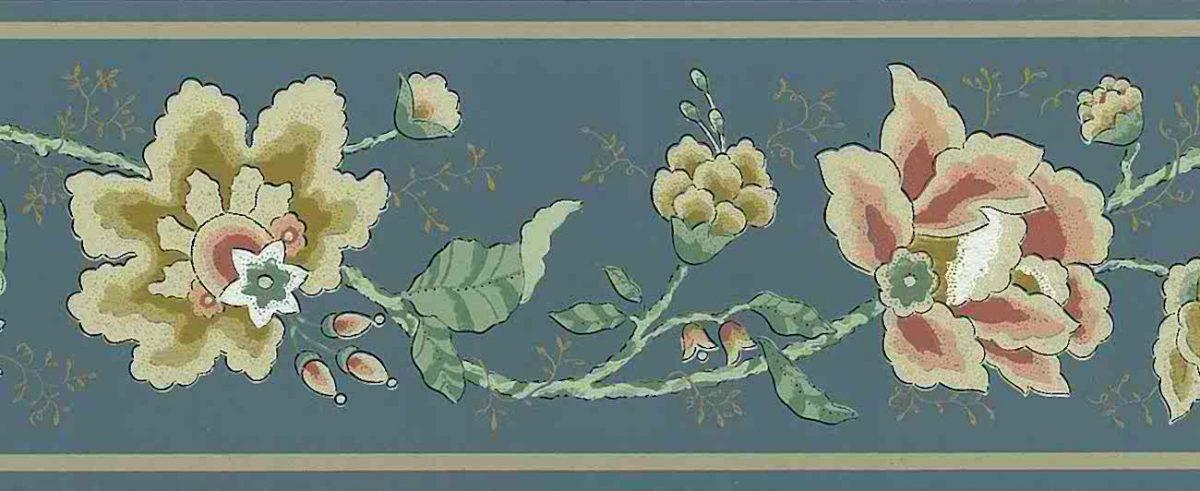 slate blue vintage wallpaper border