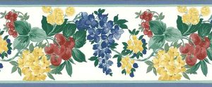 English cottage vintage wallpaper border,red,yellow,blue,green, off-white, cherries, flowers