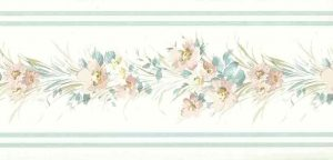 Floral satin vintage wallpaper border, blue, gray, white, flowers, cottage