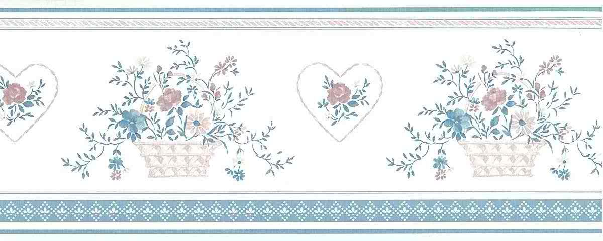 pink stencil vintage wallpaper border, blue, off-white, Sanitas, textured, heart, lattie floral