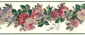 rose peonies vintage wallpaper border, pink, blue, green, off-white, embossed