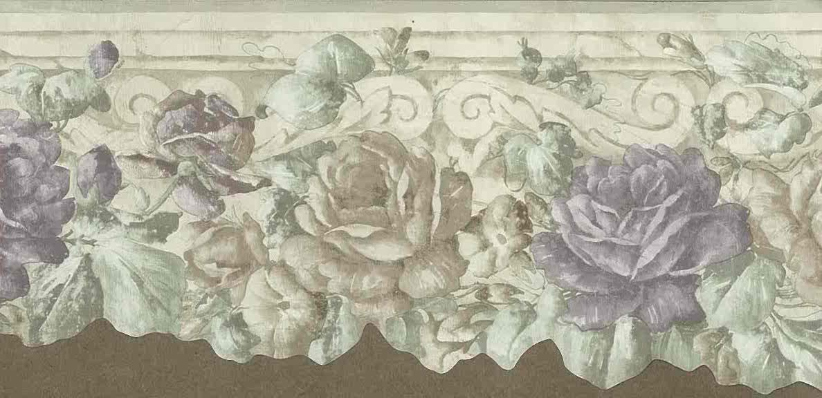 roses vintage wallpaper border, purple, green, Victorian, cutout, morning glories, bedroom, floral, flowers