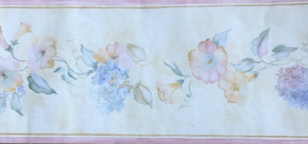 Hydrangeas vintage wallpaper border, morning glories, blue,pink,yellow