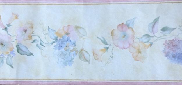 Hydrangeas vintage wallpaper border, morning glories, blue,pink,yellow