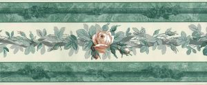 vintage wallpaper border roses, peach, green, cream, faux finish, cottage style, gray