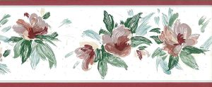 lavender floral vintage wallpaper border, cottage, pink, rose, green, off-white, cottage, glazed