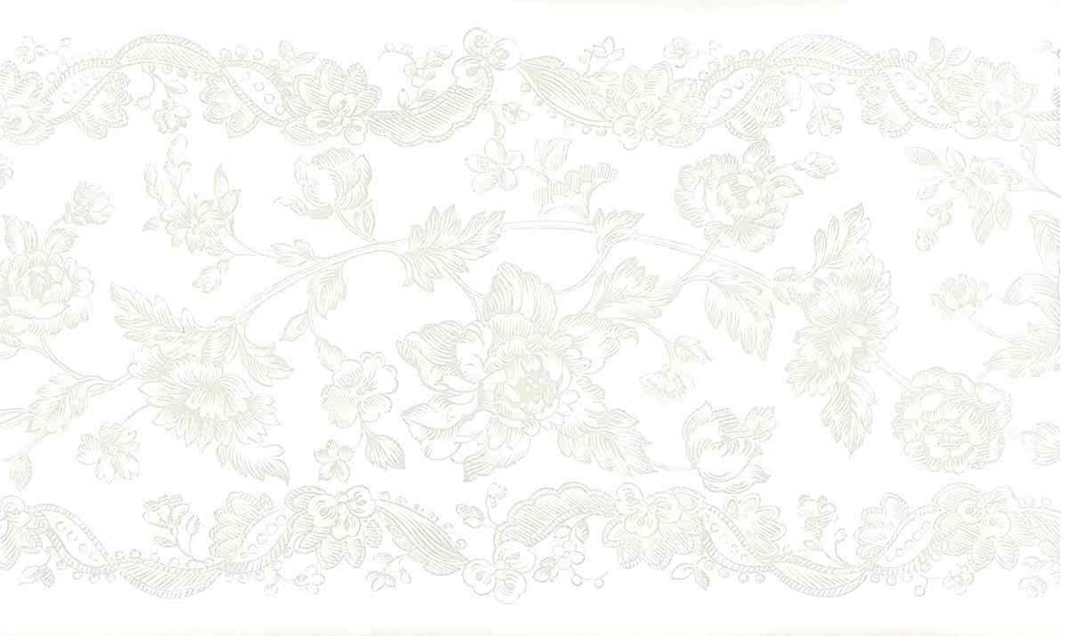 vintage floral wallpaper border gray, off-white, botanical, stencil, kitchen, guest bedroom