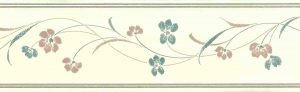 Stencil floral vintage wallpaper border, blue, pink, cream, hand print look, kitchen, bedroom