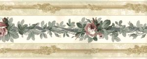 Roses vintage wallpaper border, floral, pink, gray, beige, pearlized