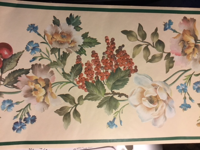 vintage wallpaper border fruit floral, green, cream, grapes, cherries, kitchen