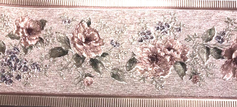vintage style floral wallpaper border, pink, green, pearlized, textured,embossed, guest bedroom