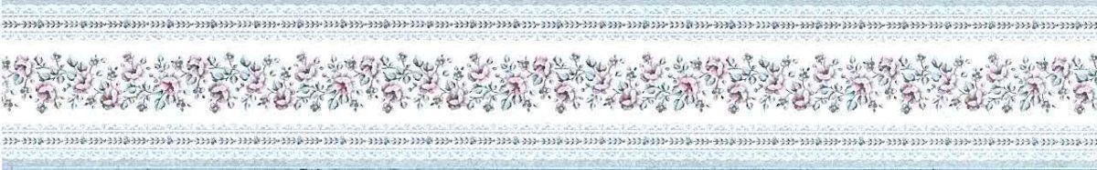 Victorian cottage wallpaper border, blue, white, pink, English, narrow, satin finish, glazed, floral