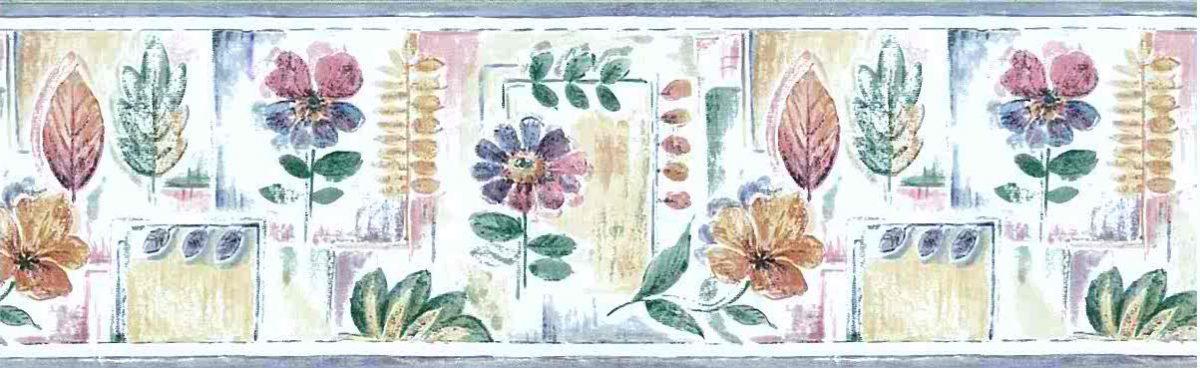 Summer floral leaf wallpaper, border, cottage, kitchen, bedroom, blue, pink, green, purple, off-white, daisies