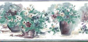Daisies vintage wallpaper border, daisies, green, blue, White, cottage style, wicker, terrqacotta