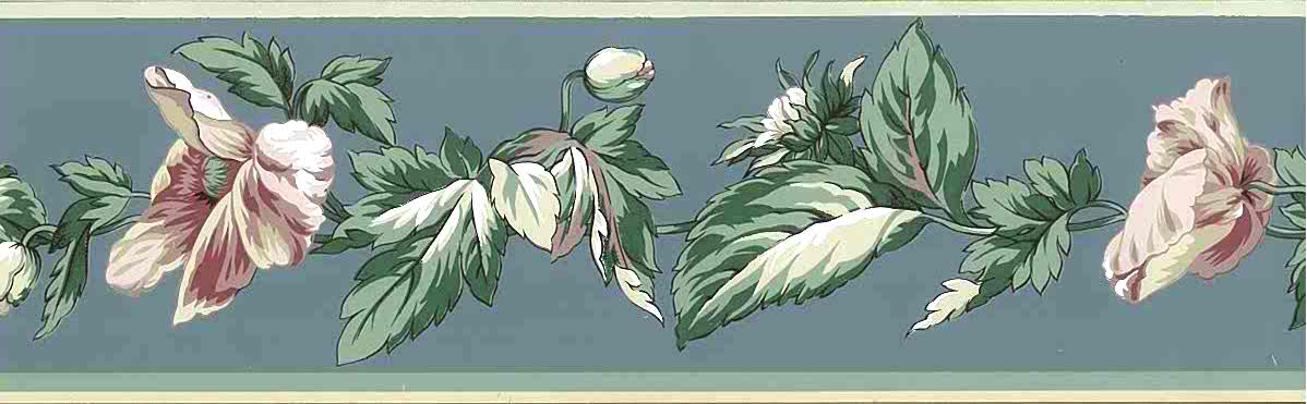 blue vintage wallpaper border, floral, cottage style, pink, green, cream, parrot tulips
