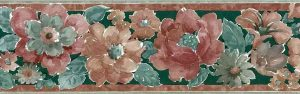Rust Floral vintage Wallpaper Border with green, brown & rose.